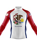 cheap -21Grams Men's Long Sleeve Cycling Jersey Spandex Polyester Red and White Patchwork Funny National Flag Bike Top Mountain Bike MTB Road Bike Cycling Quick Dry Moisture Wicking Breathable Sports