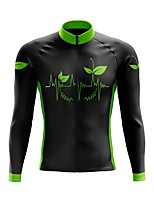 cheap -21Grams Men's Long Sleeve Cycling Jersey Spandex Polyester Black 3D Floral Botanical Funny Bike Top Mountain Bike MTB Road Bike Cycling Quick Dry Moisture Wicking Breathable Sports Clothing Apparel