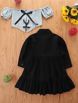 cheap -Kids Toddler Little Girls' Dress Solid Colored Casual White Black Knee-length Long Sleeve Basic Dresses Children's Day Fall