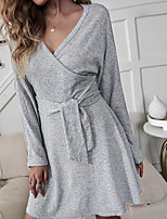 cheap -Women's A Line Dress Short Mini Dress Light Grey Long Sleeve Solid Color Lace up Spring Summer V Neck Active Casual 2021 S M L XL / Cotton