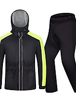 cheap -men cycling rain suit, lightweight rain gear (jacket + trousers) waterproof windproof hooded raincoat for bike motorcycle walking work(size:xxxlarge)
