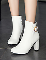 cheap -Women's Boots Chunky Heel Round Toe Booties Ankle Boots Daily Office PU Solid Colored White / Booties / Ankle Boots