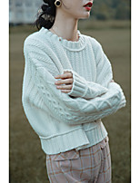 cheap -Women's Pullover Sweater Modern Style Solid Color Casual Long Sleeve Sweater Cardigans Round Neck Fall Winter Malachite Green Blue Red Wine