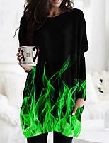 cheap -Women's A Line Dress Short Mini Dress Blue Green Red Long Sleeve Print Print Fall Round Neck Casual 2021 XS S M L XL XXL 3XL 4XL