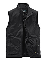 cheap -Men's Vest Sport Daily Fall Spring Regular Coat Stand Collar Loose Thermal Warm Breathable Sporty Elegant Jacket Sleeveless Hot Stamping Solid Color Print Blue Gray Khaki