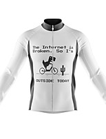 cheap -21Grams Men's Long Sleeve Cycling Jersey Spandex Polyester White Funny Bike Top Mountain Bike MTB Road Bike Cycling Quick Dry Moisture Wicking Breathable Sports Clothing Apparel / Athleisure