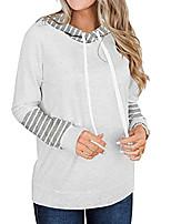 cheap -Women's Hoodie Sweatshirt Stripes Daily Sports Active Streetwear Hoodies Sweatshirts  Gray Khaki White / Fleece Lining