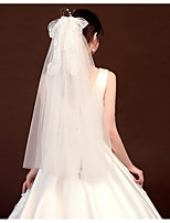 cheap -Three-tier Classic & Timeless / Sweet Wedding Veil Shoulder Veils with Satin Bow / Solid Tulle