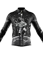 cheap -21Grams Men's Long Sleeve Cycling Jersey Spandex Polyester Black Black+White Funny Astronaut Bike Top Mountain Bike MTB Road Bike Cycling Quick Dry Moisture Wicking Breathable Sports Clothing Apparel
