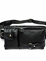 cheap -vintage leather waist bag fanny pack for men women travel hunting hiking climbing multi-purpose hip bum belt slim cell phone purse wallet pouch black