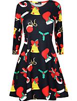 cheap -Women's A Line Dress Knee Length Dress Black Long Sleeve Print Print Fall Winter Round Neck Casual Christmas 2021 S M L XL