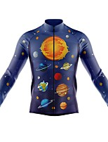 cheap -21Grams Men's Long Sleeve Cycling Jersey Spandex Polyester Dark Blue Galaxy Funny Bike Top Mountain Bike MTB Road Bike Cycling Quick Dry Moisture Wicking Breathable Sports Clothing Apparel