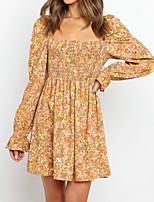 cheap -Women's A Line Dress Short Mini Dress Yellow Long Sleeve Floral Print Fall Spring Square Neck Work Casual Boho 2021 S M L XL