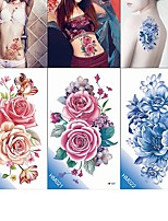 cheap -6 Pcs Make Up Fake Temporary Tattoos Stickers Rose Flowers Arm Shoulder Tattoo Waterproof Women Big Flash Tattoo on Body