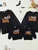 cheap -Halloween Tops Family Look Cotton Bat Letter Athleisure Print White Black Red Long Sleeve Basic Matching Outfits / Fall / Spring / Cute