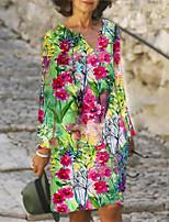 cheap -Women's A Line Dress Knee Length Dress Blue Yellow Red Long Sleeve Print Print Fall V Neck Casual 2021 S M L XL XXL 3XL 4XL 5XL