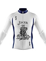 cheap -21Grams Men's Long Sleeve Cycling Jersey Spandex Polyester White Funny Poker Bike Top Mountain Bike MTB Road Bike Cycling Quick Dry Moisture Wicking Breathable Sports Clothing Apparel / Athleisure
