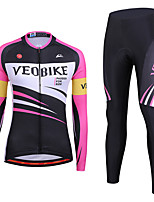cheap -Women's Long Sleeve Cycling Jersey with Tights Winter Spandex Pink / Black Stripes Bike Quick Dry Sports Stripes Mountain Bike MTB Road Bike Cycling Clothing Apparel / Stretchy / Athletic