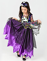 cheap -Witch Vampire Dress Cosplay Costume Kid's Girls' Halloween Halloween Christmas Halloween Festival / Holiday Terylene Purple Easy Carnival Costumes Solid Color