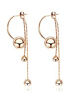 cheap -stainless steel smooth long beads tassel earrings jewelry rose gold plated chain & link dangle earrings for women e17098