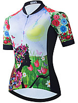 cheap -21Grams Women's Short Sleeve Cycling Jersey Summer Spandex Green Floral Botanical Bike Top Mountain Bike MTB Road Bike Cycling Quick Dry Moisture Wicking Sports Clothing Apparel / Stretchy