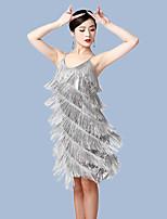 cheap -Latin Dance Dress Tassel Women's Training Performance Polyester
