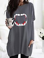 cheap -Women's Halloween T shirt Dress Graphic Long Sleeve Pocket Round Neck Basic Halloween Tops Army Green Fuchsia Gray