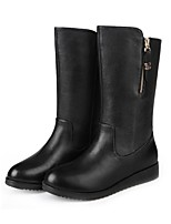 cheap -Women's Boots Chunky Heel Round Toe Rubber Solid Colored Black