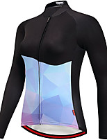 cheap -21Grams Women's Long Sleeve Cycling Jersey Spandex Black Color Block Bike Top Mountain Bike MTB Road Bike Cycling Quick Dry Moisture Wicking Sports Clothing Apparel / Stretchy / Athleisure