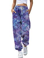 cheap -Women's Fashion Athleisure Breathable Sports Pants Sweatpants Loose Casual Daily Pants Tie Dye Full Length Elastic Drawstring Design Print Purple