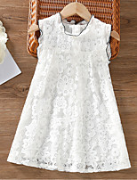 cheap -Kids Little Girls' Dress Solid Color White Sleeveless Fashion Cute Dresses Summer
