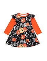 cheap -Kids Little Girls' Dress Graphic Letter A Line Dress Casual Daily Print Orange Cotton Knee-length Long Sleeve Casual Cute Dresses Halloween Fall Winter Regular Fit 1-5 Years