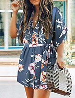 cheap -Women's A Line Dress Short Mini Dress Blue White Beige Half Sleeve Floral Print Fall Summer V Neck Casual 2021 S M L XL