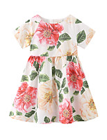 cheap -Kids Little Girls' Dress Floral / Botanical Solid Color Daily Wear color Short Sleeve Casual / Daily Dresses Summer 1 year+ / Cotton
