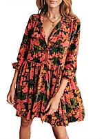 cheap -Women's A Line Dress Short Mini Dress Orange 3/4 Length Sleeve Floral Ruffle Print Fall V Neck Casual 2021 S M L XL XXL 3XL / Cotton