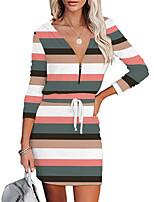 cheap -Women's A Line Dress Short Mini Dress Blue Purple Blushing Pink Green Orange White Black Red Light Green Long Sleeve Print Print Fall V Neck Casual 2021 S M L XL XXL 3XL