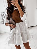 cheap -Women's Shirt Dress Short Mini Dress Khaki White Black Long Sleeve Color Block Patchwork Bow Fall Shirt Collar Casual 2021 S M L XL XXL