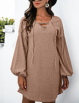 cheap -Women's A Line Dress Short Mini Dress Red Wine khaki Black Long Sleeve Solid Color Modern Style Fall Winter Round Neck Casual 2021 S M L XL