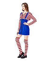 cheap -Uniforms Dress Cosplay Costume Adults' Women's Dresses Halloween Halloween Halloween Festival / Holiday Terylene Cotton Blue Women's Easy Carnival Costumes Stripes