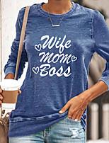cheap -Women's Painting T shirt Text Long Sleeve Print Round Neck Basic Tops Blue Yellow Gray