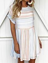 cheap -Women's T Shirt Dress Tee Dress Short Mini Dress Light Blue Short Sleeve Stripes Pleated Print Spring Summer Round Neck Active Basic Casual 2021 S M L XL