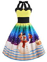cheap -Women's A Line Dress Knee Length Dress Blue Yellow Orange Black Red Light Blue Sleeveless Print Print Fall Winter Halter Neck Casual Vintage Christmas 2021 S M L XL XXL