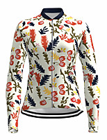 cheap -21Grams Women's Long Sleeve Cycling Jersey Spandex White Floral Botanical Bike Top Mountain Bike MTB Road Bike Cycling Quick Dry Moisture Wicking Sports Clothing Apparel / Stretchy / Athleisure