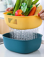 cheap -Creative Multifunctional Drain Basket Double Layer Home Kitchen Fruit And Vegetable Washing Basin Round Fruit Basket Plastic Vegetable Washing Basket Salad Vegetable Basin