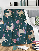 cheap -3D Print flannel Blanket Double Nap Cover Blanket Air Conditioning Blanket Lazy acker Blanket Unicorn Leopard print