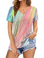 cheap -Women's 3D Printed T shirt Color Gradient Print V Neck Basic Tops Blushing Pink