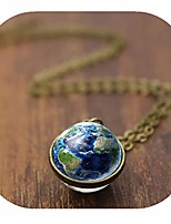 cheap -two sided earth necklace globe pendants space planet jewelry solar system blue earth pendant space necklace (bronze & 16mm)