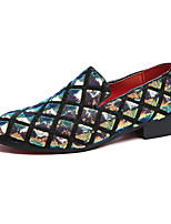 cheap -Men's Loafers & Slip-Ons Sequins Dress Loafers Casual Home Daily PU Breathable Blue Black Silver Fall Spring