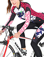 cheap -Women's Long Sleeve Cycling Jersey with Tights Spandex Polyester Black / Red Purple Blue Funny Bike Clothing Suit 3D Pad Quick Dry Breathable Reflective Strips Sports Graphic Mountain Bike MTB Road