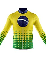 cheap -21Grams Men's Long Sleeve Cycling Jersey Spandex Polyester Green Polka Dot Funny Brazil Bike Top Mountain Bike MTB Road Bike Cycling Quick Dry Moisture Wicking Breathable Sports Clothing Apparel